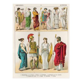 Greek Dress, from 'Trachten der Voelker, 1864 Postcard