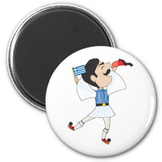 Greek Evzone dancing with Flag 2 Inch Round Magnet
