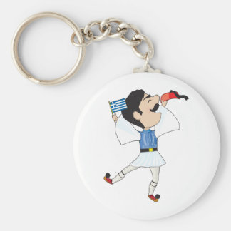 Greek Evzone dancing with Flag Basic Round Button Keychain