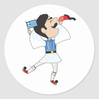 Greek Evzone dancing with Flag Classic Round Sticker