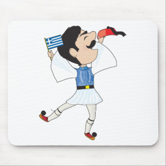 Greek Evzone dancing with Flag Mouse Pad