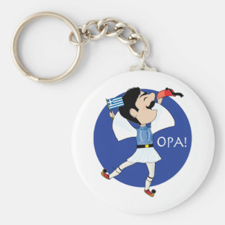 Greek Evzone dancing with Flag OPA! Basic Round Button Keychain