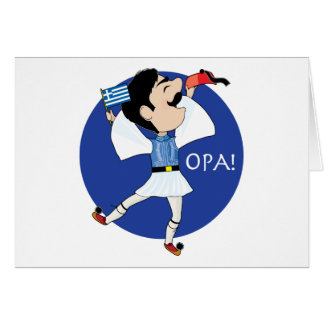Greek Evzone dancing with Flag OPA! Card