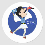 Greek Evzone dancing with Flag OPA! Classic Round Sticker