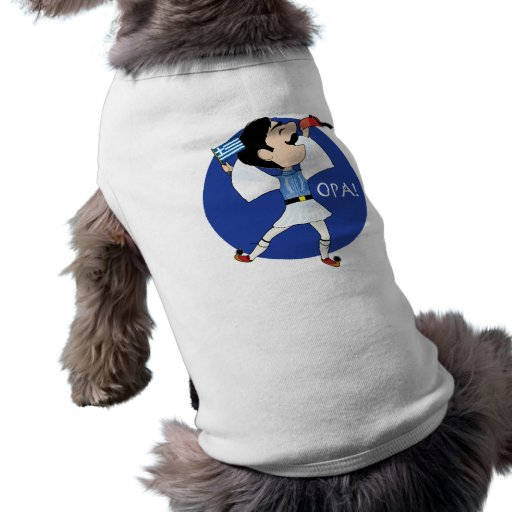 Greek Evzone dancing with Flag OPA! Doggie T-shirt