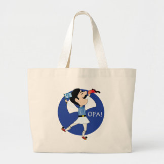 Greek Evzone dancing with Flag OPA! Large Tote Bag