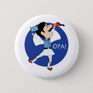 Greek Evzone dancing with Flag OPA! Pinback Button