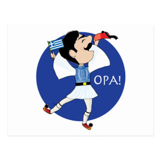 Greek Evzone dancing with Flag OPA Post Cards