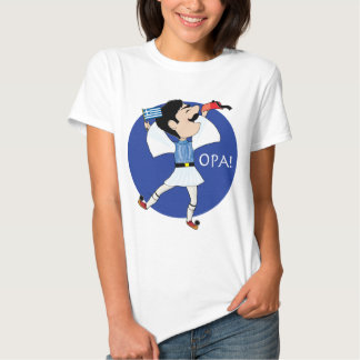 Greek Evzone dancing with Flag OPA! Tee Shirt