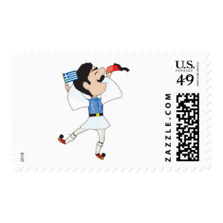 Greek Evzone dancing with Flag Postage Stamp