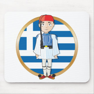 Greek Evzone with Flag Mouse Pad