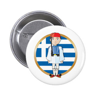 Greek Evzone with Flag Pinback Button