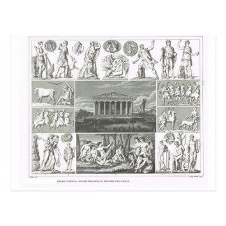 Greek festivals and mythology postcards