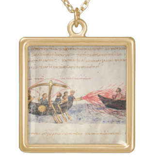 Greek fire (vellum) gold plated necklace