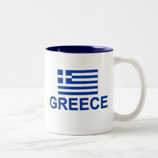 Greek Flag 1 Two-Tone Coffee Mug