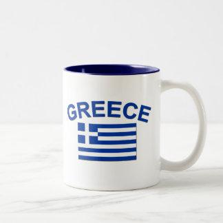 Greek Flag 2 Two-Tone Coffee Mug