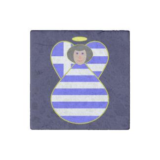 Greek Flag Angel Black Hair Stone Magnet
