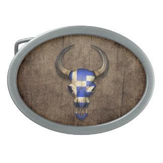 Greek Flag Bull Skull on Wood Effect Oval Belt Buckle
