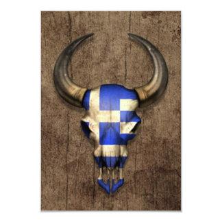 Greek Flag Bull Skull on Wood Effect Personalized Invitations