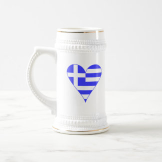 Greek Flag Heart Funky Beer Stein