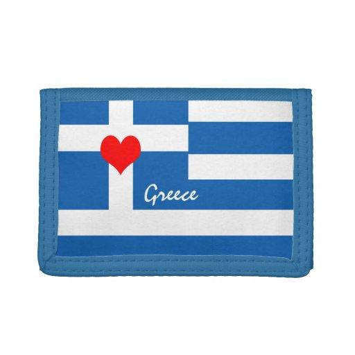 Greek flag & Heart - Greece travel/sports fans Trifold Wallet