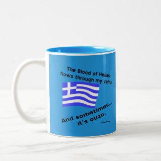 Greek Flag Hellas Blood and Ouzo Times 2 Blue Two-Tone Coffee Mug