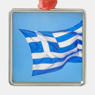 Greek flag in Athens Metal Ornament