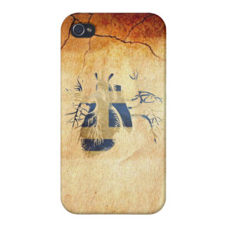 Greek Flag in Real heart iPhone 4 Case