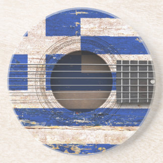 Greek Flag on Old Acoustic Guitar Drink Coasters