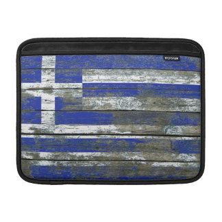 Greek Flag on Rough Wood Boards Effect MacBook Air Sleeve