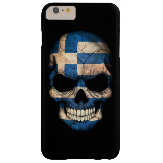 Greek Flag Skull on Black Barely There iPhone 6 Plus Case