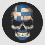 Greek Flag Skull on Black Classic Round Sticker