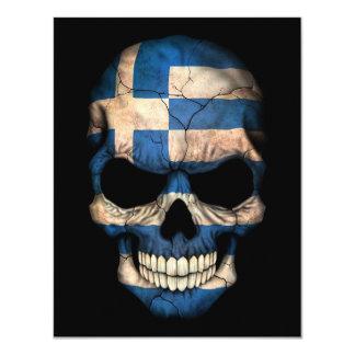 Greek Flag Skull on Black Custom Announcement