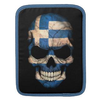 Greek Flag Skull on Black Sleeve For iPads