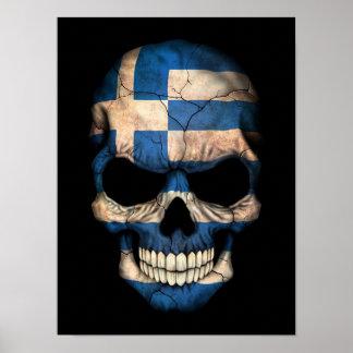 Greek Flag Skull on Black Poster