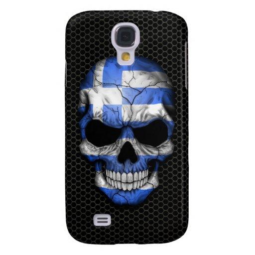 Greek Flag Skull on Steel Mesh Graphic Galaxy S4 Case