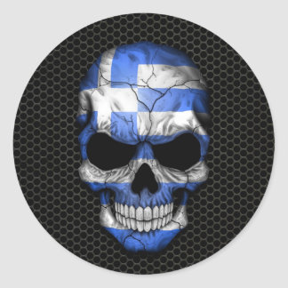 Greek Flag Skull on Steel Mesh Graphic Classic Round Sticker