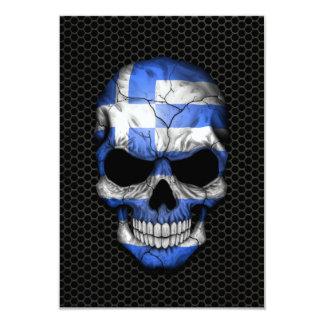 Greek Flag Skull on Steel Mesh Graphic Personalized Invitation