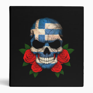Greek Flag Skull with Red Roses 3 Ring Binders