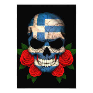 Greek Flag Skull with Red Roses Announcements