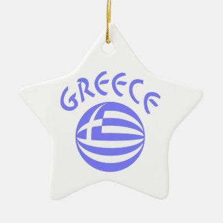Greek Flag Sphere Ceramic Ornament