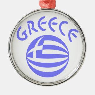 Greek Flag Sphere Metal Ornament
