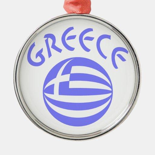 Greek Flag Sphere Round Metal Christmas Ornament