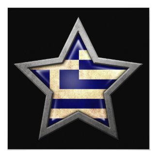 Greek Flag Star on Black Personalized Invitation