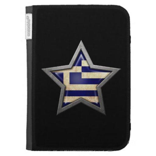 Greek Flag Star on Black Kindle Keyboard Cases