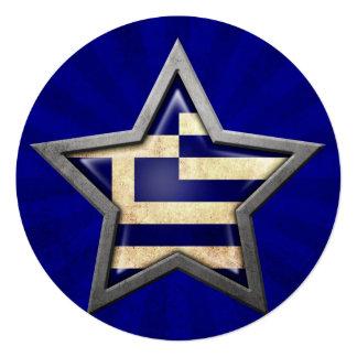 Greek Flag Star with Rays of Light Custom Announcements