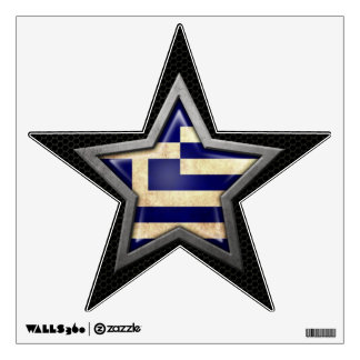 Greek Flag Star with Steel Mesh Effect Wall Decal