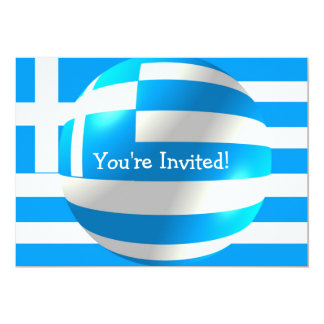 Greek Flag With Bubble Invitation