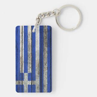 Greek Flag with Rough Wood Grain Effect Double-Sided Rectangular Acrylic Keychain