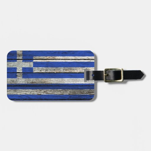 Greek Flag with Rough Wood Grain Effect Luggage Tag